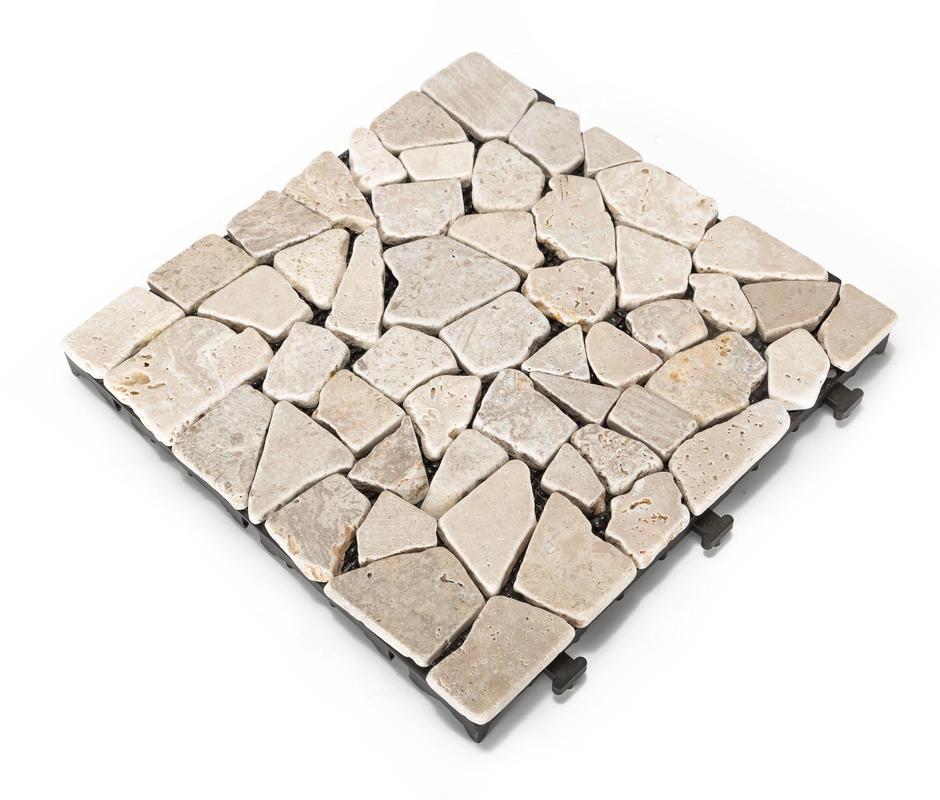 Natural Travertine Mosaic Tile L 300mm W 300mm: Artificial Grass Decking Tile
